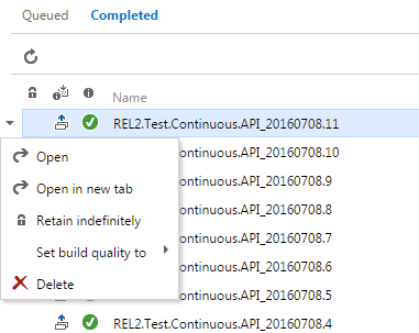 Deleting build from TFS web UI