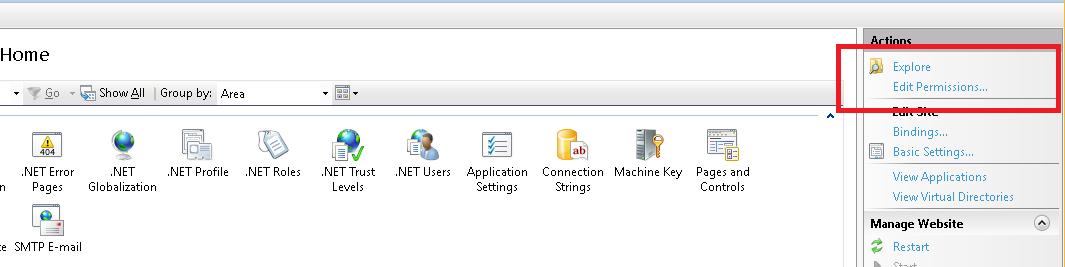 IIS explore folder