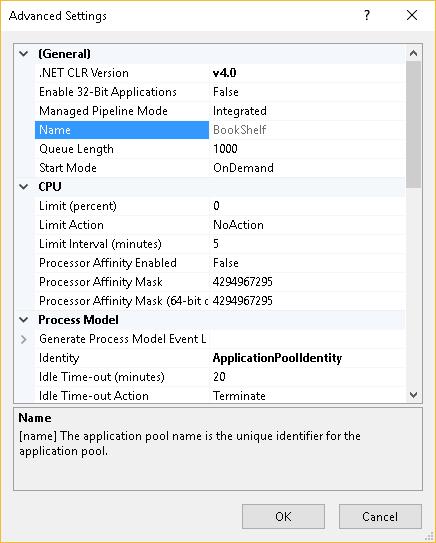 application pool settings